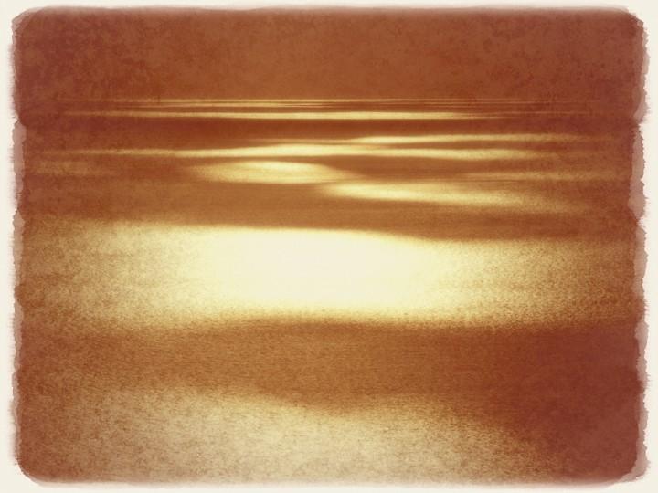 黄金色の海に落ちる雲の影