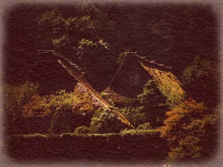 陽の当たる合掌造りの苔の屋根