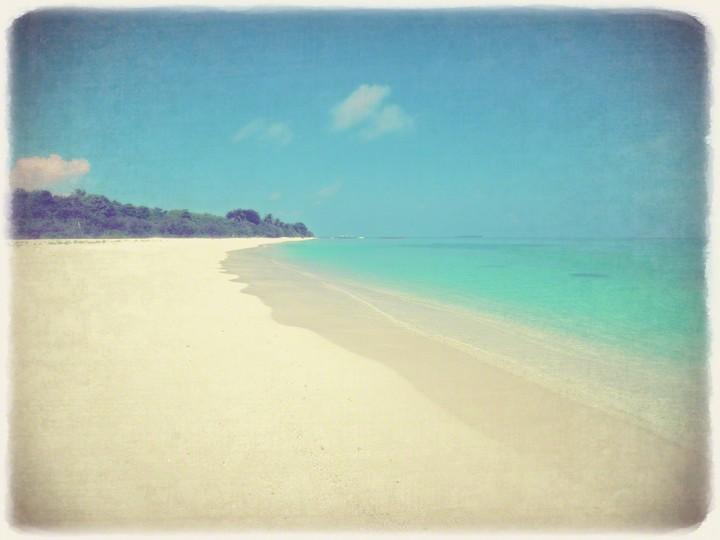 どこまでも続く珊瑚礁の砂浜